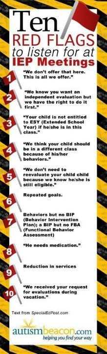 IEP Red Flags could not agree more as to these red flags. Got to be on the look out at meetings.
