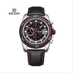 48.80$  Watch now - Megir relogio hot sport courir quartz 2015 homme luxe masculino montre - bracelet en cuir hommes montres chronographe 6 mains 20  #shopstyle