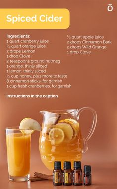 Fall is finally here, which means it's time for spiced cider! Try this recipe with essential oil. Instructions: 1. Combine all the ingredients (minus the cinnamon sticks and fresh cranberries) in a stockpot over medium-high heat. 2. Bring to a gentle simmer. Allow to simmer for at least an hour, letting flavors mingle. 3. Taste and add more essential oils and honey, if desired. 4. Serve hot. Store refrigerated for up to five days. Essential Oil Uses, Doterra Essential Oils, Doterra Wild Orange, Spiced Cider, Fresh Cranberries, Cranberry Juice, Meals For Two, Cinnamon Sticks, Spices