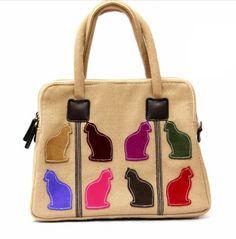 Beige Canvas Handbag With Multicoloured Suede Applique Cats. £39.99