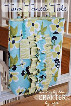 Two Tone Ruffle Tote - @Ashley J can help you glam up your quilted tote bag pattern with cute embellishments that also make great sewing practice.