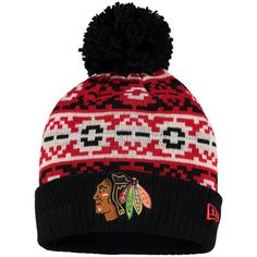 2f973c80406 Chicago Blackhawks New Era Black Retro Chill Cuffed Knit Hat With Pom -  Shop.NHL