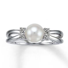 Cultured Pearl Ring With Diamond Accents Sterling Silver