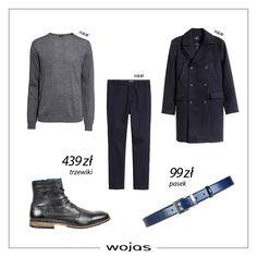 Klasyczne spodnie świetnie komponują się z popielatym swetrem i wełnianym płaszczem. Czarne trzewiki Wojas (5228-51) i pasek (5974-56) są uzupełnieniem męskiego, jesiennego zestawu.
