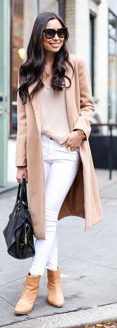 Camel Long Line Coat by With Love From Kat