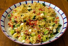 HERBY COUSCOUS. Ingredients: 2 medium carrots 1/2 cup diced celery 1 medium onion, finely chopped 1/4 cup julienned sweet yellow pepper 1/4 cup julienned sweet red pepper 2 tablespoons olive oil 1 medium zucchini, diced 1/4 cup minced fresh basil or 4 teaspoons dried basil 1/4 teaspoon garlic salt 1/8 teaspoon pepper Dash hot pepper sauce 1 cup uncooked couscous 1-1/2 cups chicken broth