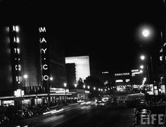 This dynamic night shot from Life magazine shows us glimpse of the view looking east along Wilshire Blvd from Fairfax Ave in 1949. None the places we can see – May Co. department store, Prudential, Coulter's department store, and Arthur Murray dance studio – are still around, but at least the May Co. building is getting a second life with the opening of the Academy museum. Does anybody reading this remember Coulter's? I don't know much about it. What was it like? What sort of merchandise did…