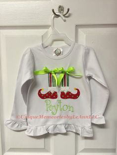 Toddler & Girls Customized Elf feet and socks appliqué with Bows Ruffle Shirt with FREE Name or Monogram - Christmas, Holiday, Santa by UniqueMemoriesLeAnn on Etsy
