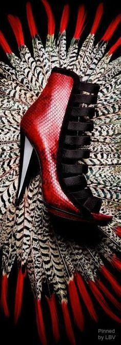 Gucci, python booties.