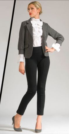 high-waisted cropped pants - great ruffled blouse detail (black, white, grey)