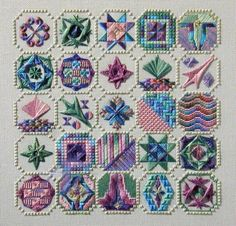 Variety of stitches textures and layers, design is Pieces of Eight which ran in Needlepoint Now