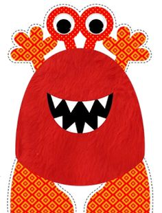 Red monster cut out. Monster Party, Monster Birthday Parties, Party Monsters, Cartoon Monsters, Little Monsters, Cute Monsters, Toy Art, Applique Patterns, Quilt Patterns