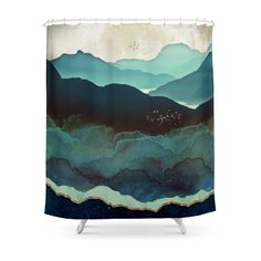 Buy Indigo Mountains Shower Curtain (AT) This shower curtain is Made To Order, one by one printed so we can control the quality. We use newest DTG Technology to print on to Indigo Mountains Shower Curtain (AT)
