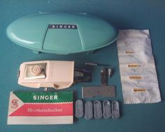 Singer Buttonholer with clam shell - templates - manual - low shank mid century  #SINGER