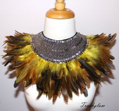 African jungle tribal fusion yellow brown ombre by HausofTrashglam
