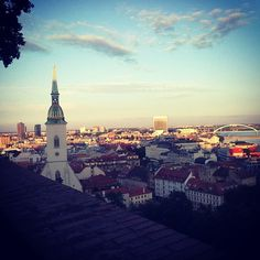 Bratislava, view on the old city from the castle My Point Of View, Bratislava, Old City, Night Skies, Love Art, Paris Skyline, Art Gallery, Old Things, Castle