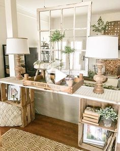 Browse hundreds of tips, tricks, and do-it-yourself guides for creating the perfect farmhouse look in your home. Farmhouse Bedroom Decor, Farmhouse Style Kitchen, Modern Farmhouse Kitchens, White Farmhouse, Home Living Room, Living Room Decor, Dining Room, Sweet Home, Console Table