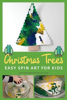 Try this easy Christmas tree art activity if you are looking for a fun activity that is all about the process .... along with paint and a salad spinner! #Christmas #art #paint #toddlers #preschool #2yearolds #3yearolds #teaching2and3yearolds