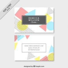 Formas geométricas em tons pastel cartão de visita Vetor grátis