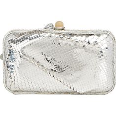 Zagliani Python Amira Minaudiere (€1.195) ❤ liked on Polyvore featuring bags, handbags, clutches, silver, white handbags, snake skin handbags, white clutches, pochette and python handbag