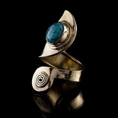 Tribal Swirl Brass Ring with Turquoise Stone, Tribal Ring, Gemstone Ring, Stone Ring, Tribalik, Turquoise Jewellery (Code 311) by TRIBALIK on Etsy