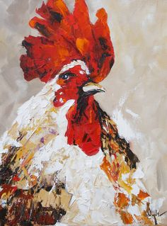 Kay Wyne Fine Art Blog: Rudy Rooster - Palette Knife Painting by Kay