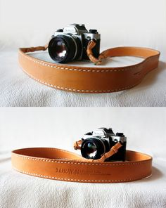 Gorgeous Natural Tan Classic Leather Camera Strap + By LoraynLeather. *Nice!