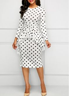 Long Sleeve Overlay Polka Dot Dress | Rosewe.com - USD $33.98