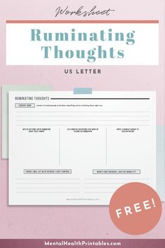 Free printable worksheet to work through ruminating thoughts. Coping Skills Worksheets, Counseling Worksheets, Therapy Worksheets, Mental And Emotional Health, Good Mental Health, Cognitive Distortions Worksheet, Emotions Game, Social Skills Games