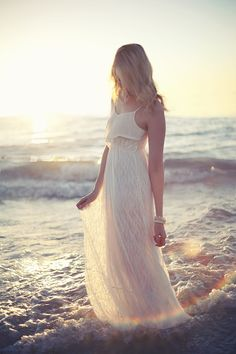 white beach dress. perfect for a nice sunset on the beach or family beach pictures!!