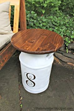 milk jug side table DIY