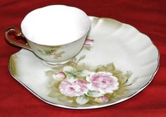 Vintage Lefton China Green Heritage Rose Snack Luncheon Cup and Plate 3071 #Lefton