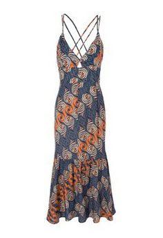 Vestido mídi espiral - laranja