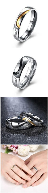 Stainless Steel Matching Couple Ring With Cubic Zirconia Wedding Valentine Engagement Promise Band for Him and Her Sets