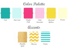 Pink, yellow, teal and different simple patterns!! :)