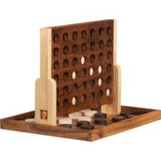 wooden connect four from cb2 $50  (I think I am going to have to buy this)  Connect four is one of the most underated mathematical board games in existence.