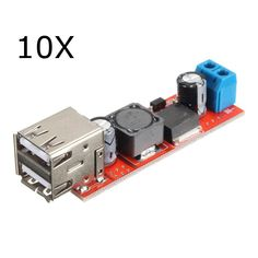 10Pcs Dual USB 9V/12V/24V/36V to 5V Converter DC-DC 3A Step Down Power Module