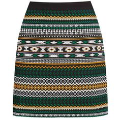 Warehouse Green Aztec Jacquard Skirt (€35) ❤ liked on Polyvore
