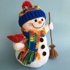 Crochet snowman and fawn pattern english only Crochet Snowman, Felt Snowman, Crochet Patterns Amigurumi, Christmas Snowman, Knitting Patterns, Crochet Crafts, Yarn Crafts, Crochet Toys, Crochet Projects
