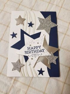 Birthday Card | Handmade | Paper | Scrap | Stars | Glitter | Celebrate | Happy Birthday
