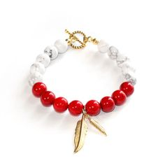 Howlite Feather Bracelet now featured on Fab.