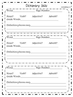 Dictionary Skills recording sheet!