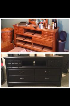 My friend is so crafty!! Old dresser turned into a tv stand/DVD player shelf and still a dresser!!