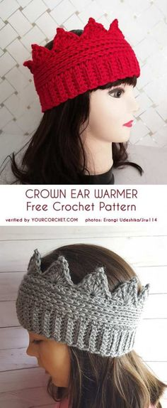 Hottest Absolutely Free Crochet headband crown Thoughts Free pattern for crown ear warmers Bandeau Crochet, Crochet Headband Free, Crochet Beanie, Knit Crochet, Crochet Santa Hat, Crochet Motifs, Filet Crochet, Crochet Stitches, Crochet Patterns