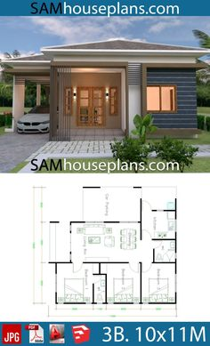 House Plans with 3 Bedrooms Roof tiles – Sam House Plans - Home & DIY Unique House Plans, Affordable House Plans, Beautiful House Plans, Bungalow House Plans, Bungalow House Design, Dream House Plans, Modern House Plans, Small House Plans, Minimal House Design