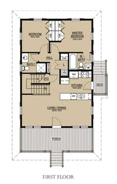 Cottage Style House Plan - 3 Beds 3 Baths 1413 Sq/Ft Plan #536-1 Main Floor Plan - Houseplans.com