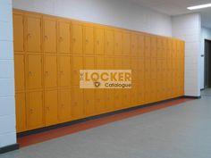 Orange lockers, extra heavy duty lockers, doors constructed in thick steel. Locker Supplies, Storage Design, Cupboard, Lockers, Catalog, Construction, Doors, Steel, Orange