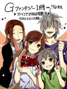 The Hori family! Manga Anime, Manga Art, Anime Art, Manhwa, Anime Group, Horimiya, Handsome Anime Guys, Ecchi, Manga Covers