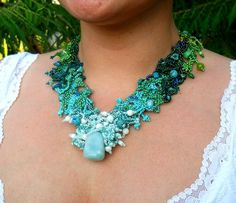 Aquamarine Turquoise Green Gradient free form peyote necklace by ibics on Etsy