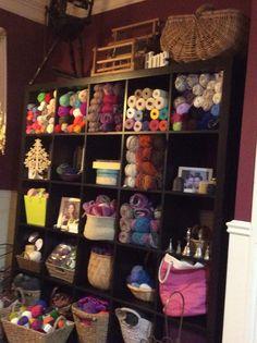 Organized wool stash love my craft room